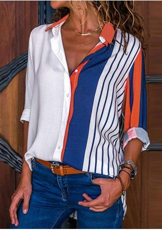 Striped Turn-Down Collar Shirt without Necklace