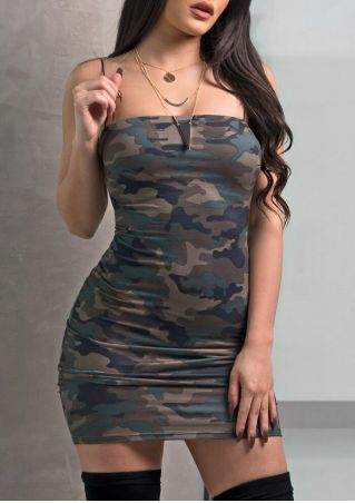 Camouflage Printed Spaghetti Strap Bodycon Dress without Necklace