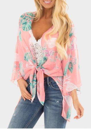 Floral Tie Three Quarter Sleeve Cardigan