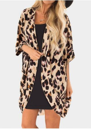 Leopard Printed Chiffon Cardigan without Necklace