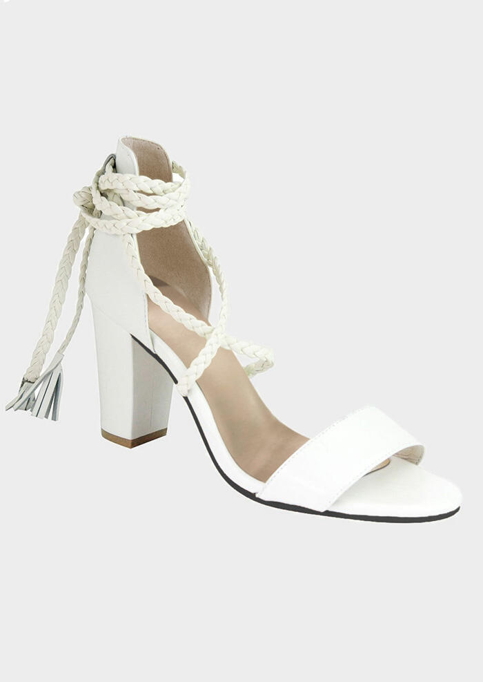 Solid Ankle Wrap Zipper Heeled Sandals