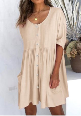 Solid Button Pocket Mini Dress without Necklace