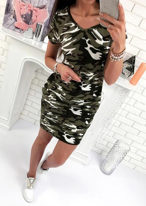 Camouflage Printed V-Neck Mini Dress