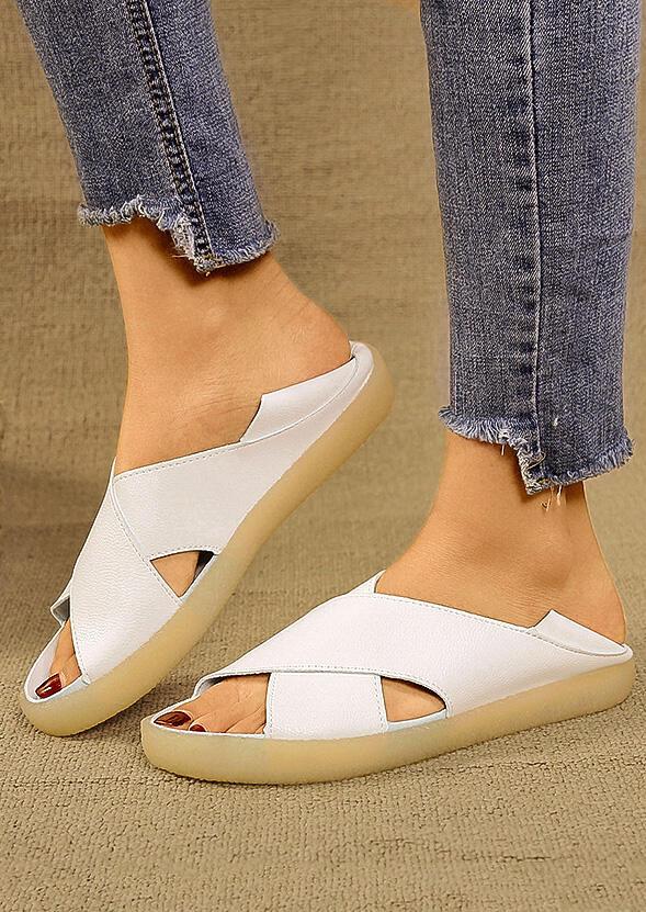 5930539c8 Solid Cross Flat Sandals - Fairyseason