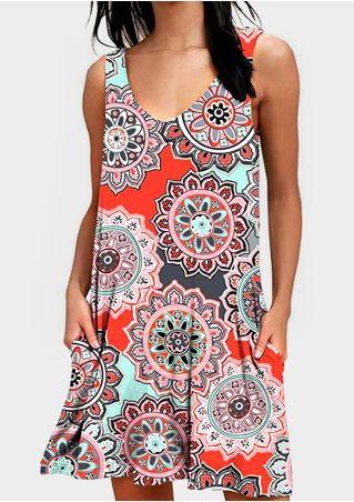 Mandala Printed V-Neck Mini Dress