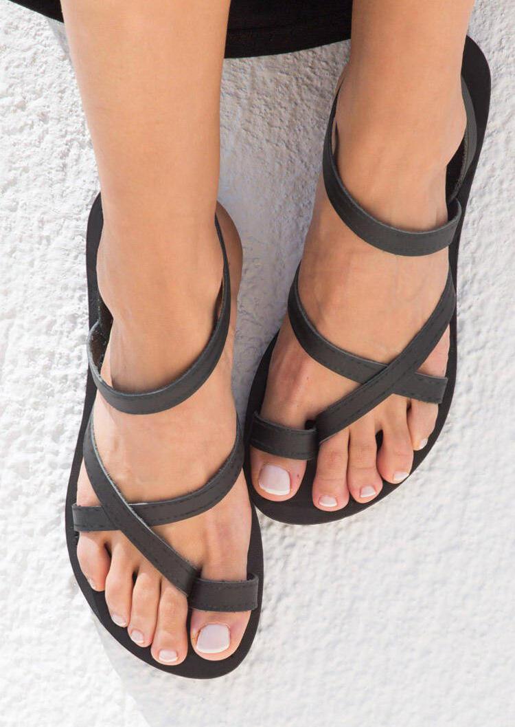 Solid Cross Flat Sandals