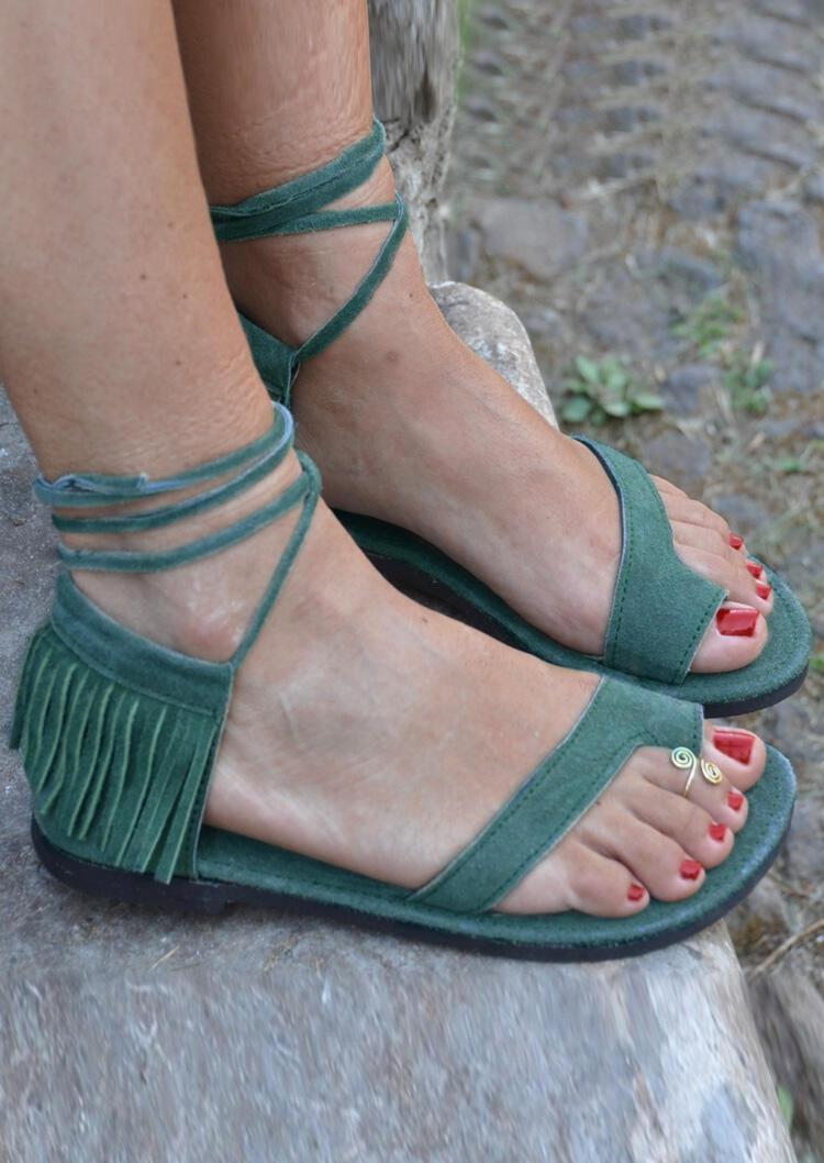 Fringe Beading Ankle Wrap Heeled Sandals