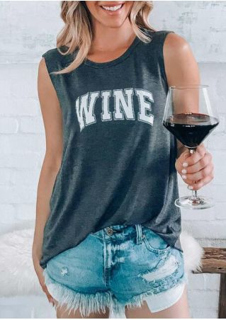 Wine O-Neck Casual Tank