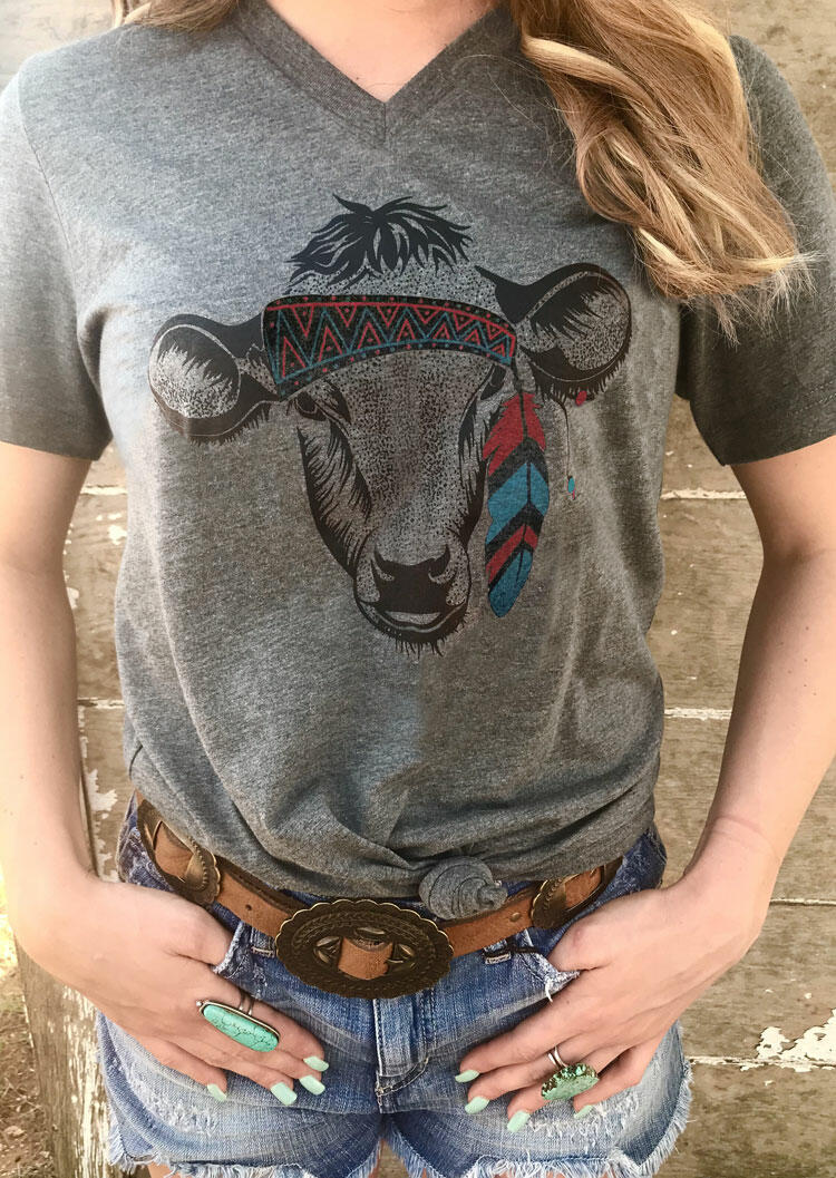 Tribal Steer Skull V-Neck T-Shirt Tee - Gray фото