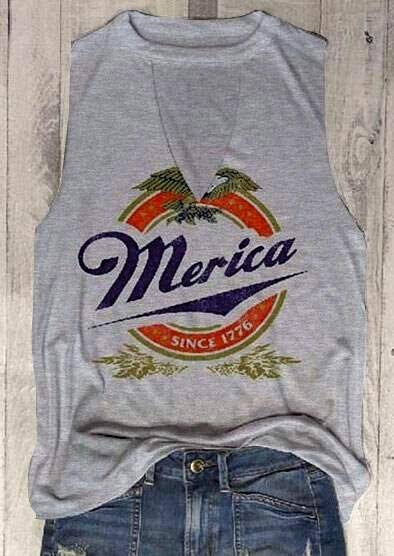 Merica Since 1776 Hollow Out Tank – Light Grey