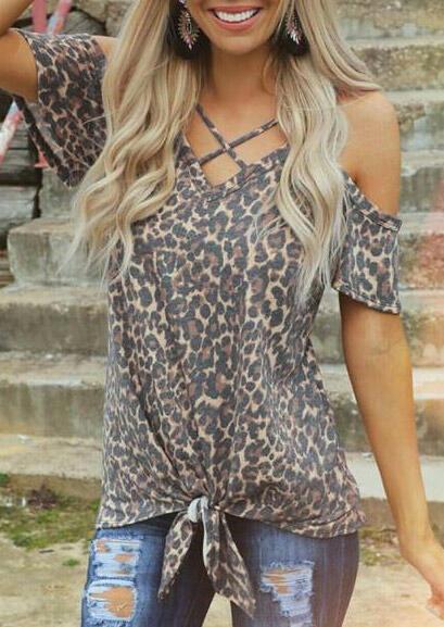 Leopard Criss-Cross Cold Shoulder Blouse фото