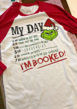 Grinch I'm Booked Baseball T-Shirt