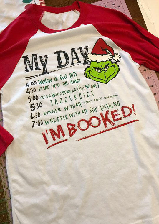 Tees T-shirts Grinch I'm Booked Baseball T-Shirt in White. Size: 3XL фото