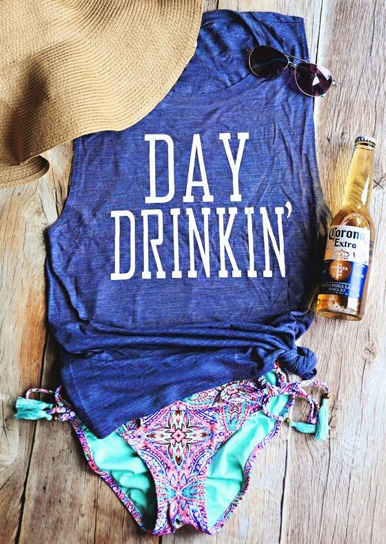 Tank Tops Day Drinkin' Casual Tank in Blue. Size: S,L,XL,2XL,3XL фото