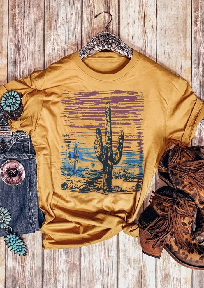 Cactus Sunset Western Yellow T-Shirt Graphic Tees in Yellow. Size: S,M,L,XL фото