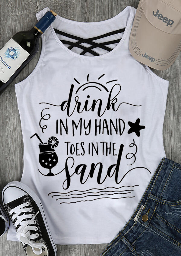 Drink In My Hand Toes Tank - White фото