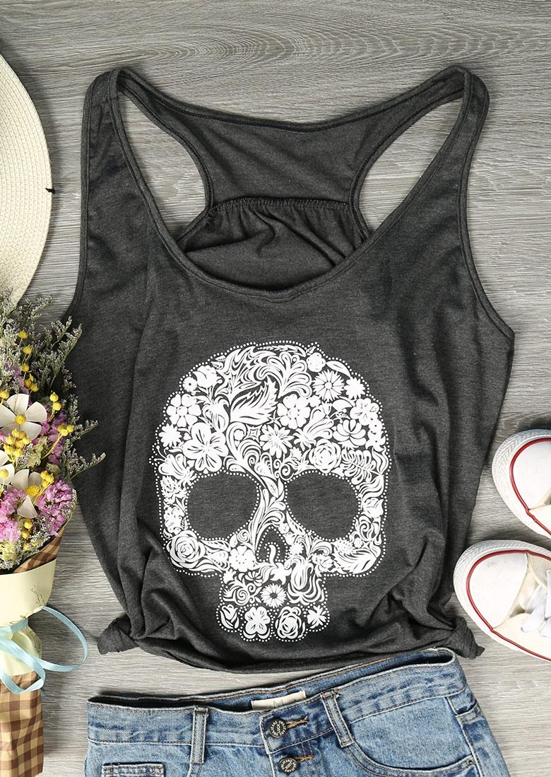 Floral Skull O-Neck Tank