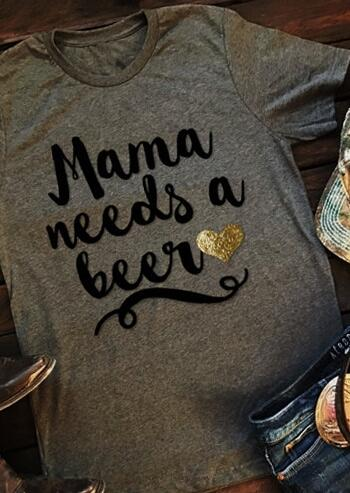 Tees T-shirts Mama Needs a Beer T-Shirt in Gray. Size: S,M,L,XL,2XL фото
