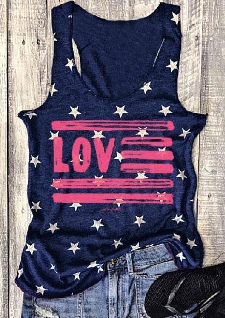 Love Star O-Neck Sleeveless Tank – Navy Blue