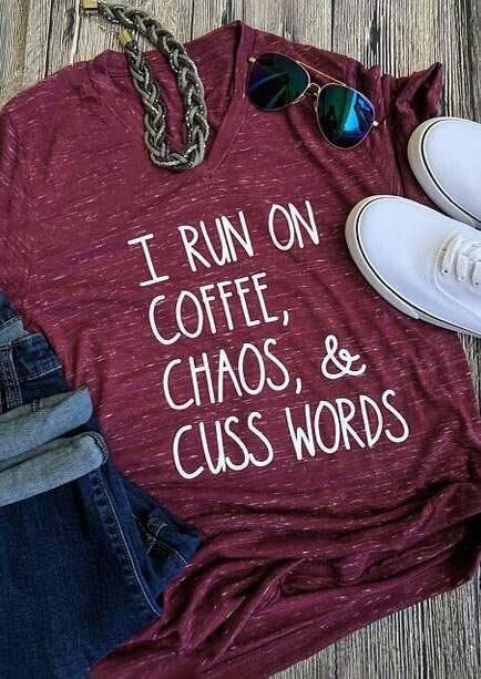Tees T-shirts I Run On Coffee Chaos & Cuss Words T-Shirt in Burgundy. Size: S,M,L,XL,2XL,3XL фото