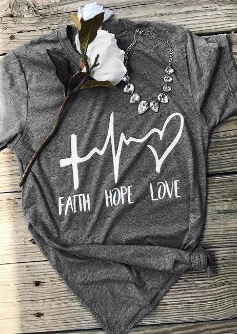 Faith Hope Love Electrocardiogram Heart T-Shirt Tee – Gray