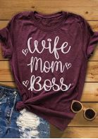 Wife Mom Boss Heart T-Shirt Tee - Plum