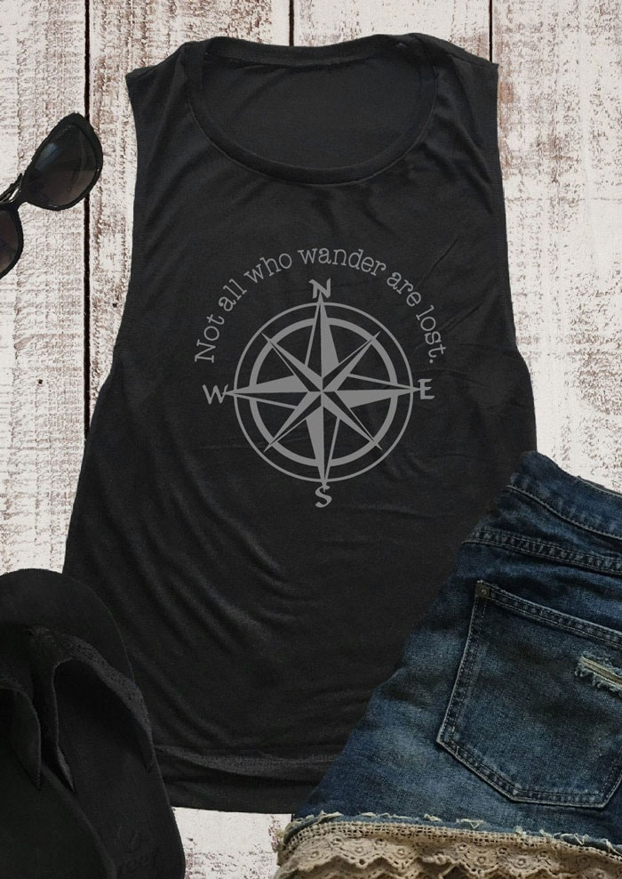 Tank Tops Not All Who Wander Are Lost Tank in Black. Size: ,XL