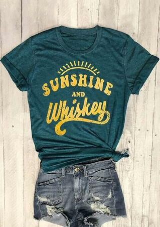 Sunshine And Whiskey O-Neck T-Shirt Tee - Dark Green