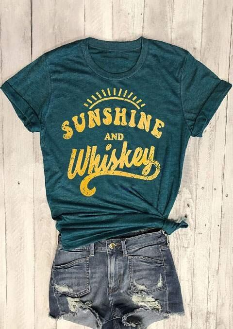 Tees T-shirts Sunshine And Whiskey O-Neck T-Shirt Tee in Dark Green. Size: S,M,L,XL фото