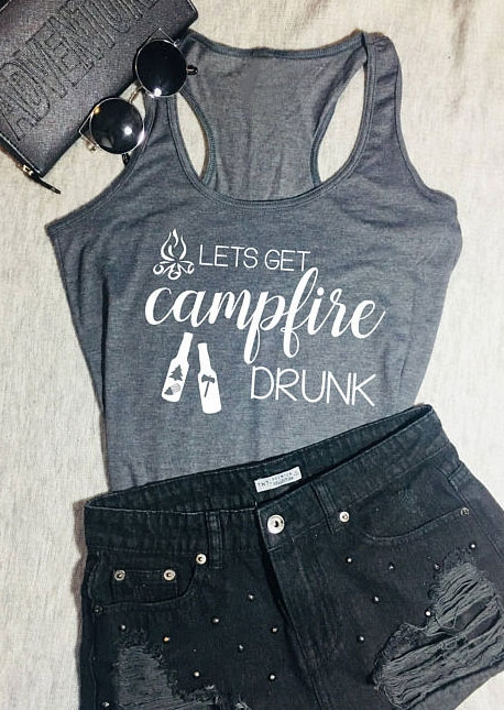 Tank Tops Lets Get Campfire Drunk Tank in Gray. Size: S,M,L,XL фото