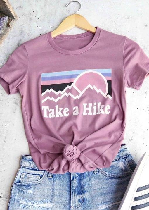 Take A Hike O-Neck T-Shirt Tee - Pink фото