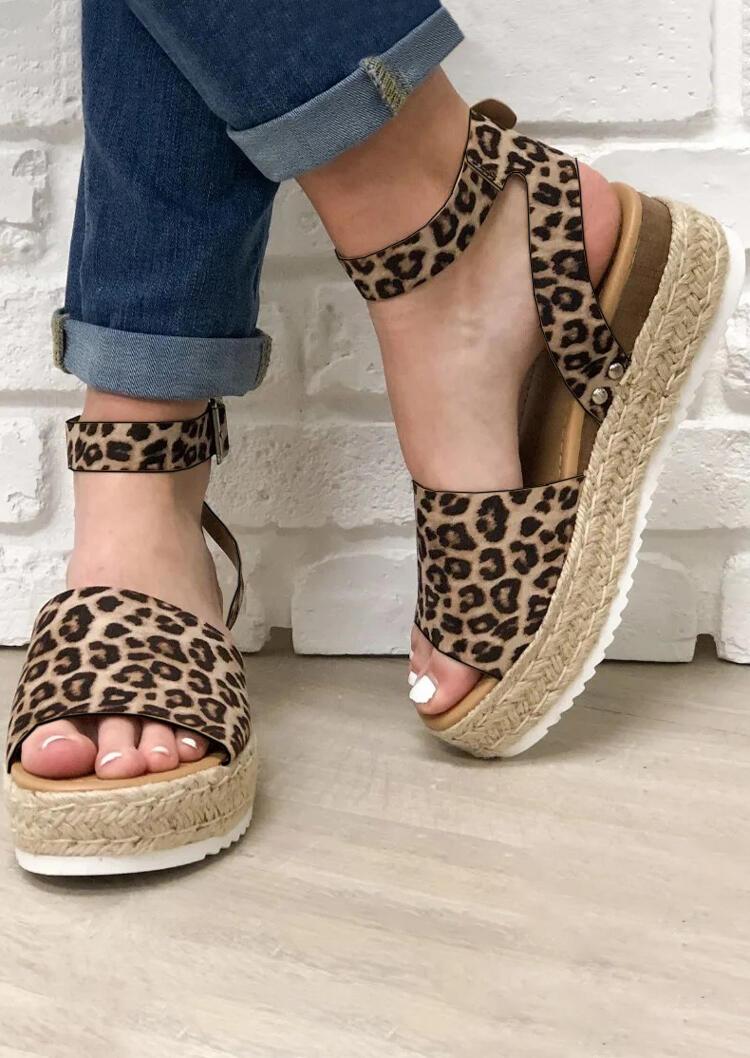 fce524bcee3 Leopard Printed Buckle Strap Wedge Sandals - Fairyseason