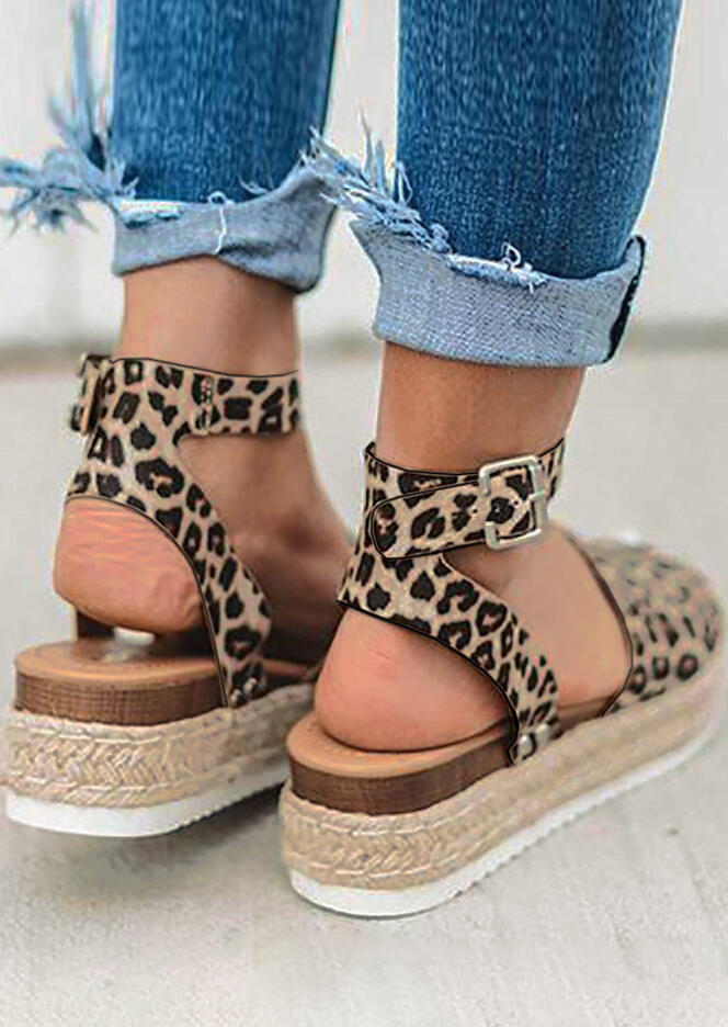 13d1e268967a Leopard Printed Buckle Strap Wedge Sandals - Fairyseason