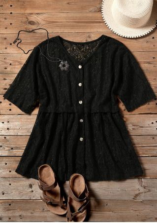 Solid Button Lace Floral Blouse without Necklace