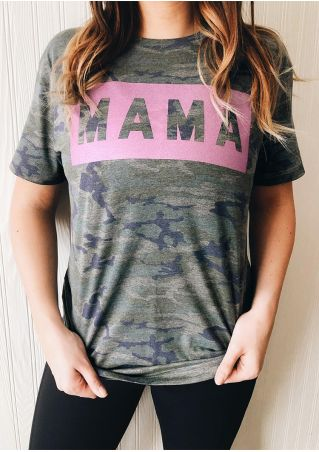 Mama Camouflage Printed T-Shirt Tee