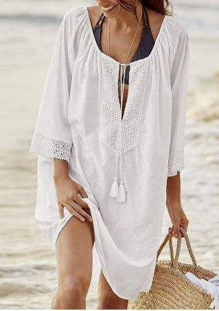 Solid Lace Splicing Tie Cover Up
