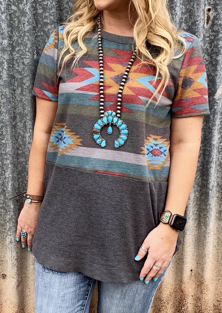 Aztec Geometric Printed T-Shirt Tee without Necklace – Gray