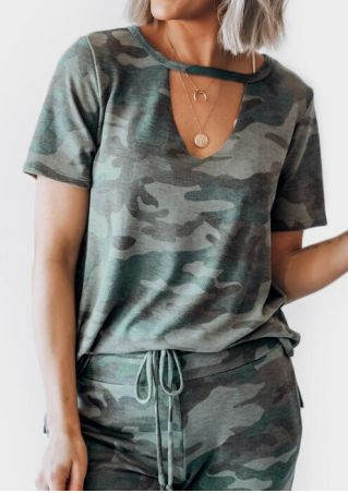 Camouflage Printed Hollow Out Blouse without Necklace