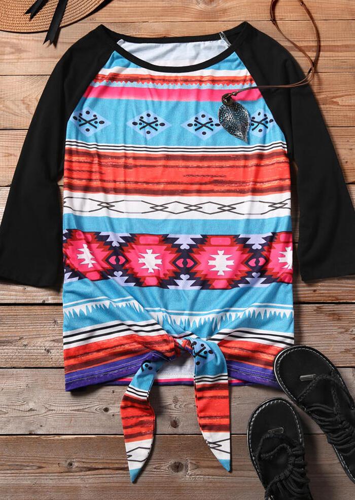 Aztec Geometric Printed Splicing Tie Blouse
