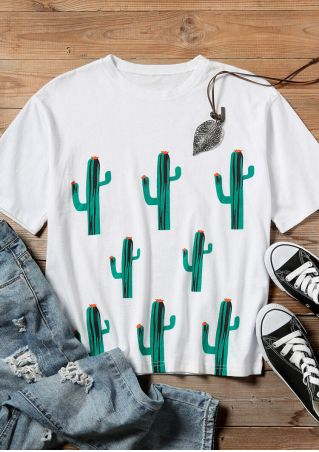 Cactus O-Neck Short Sleeve T-Shirt Tee