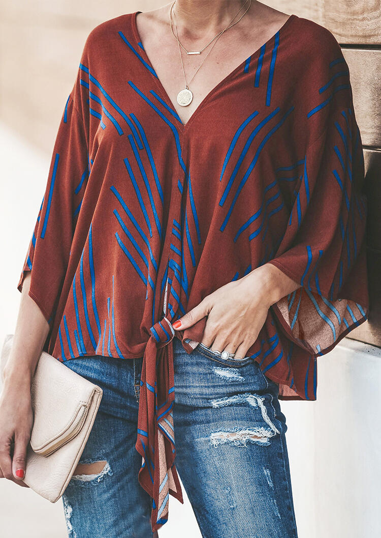Printed V-Neck Tie Blouse without Necklace