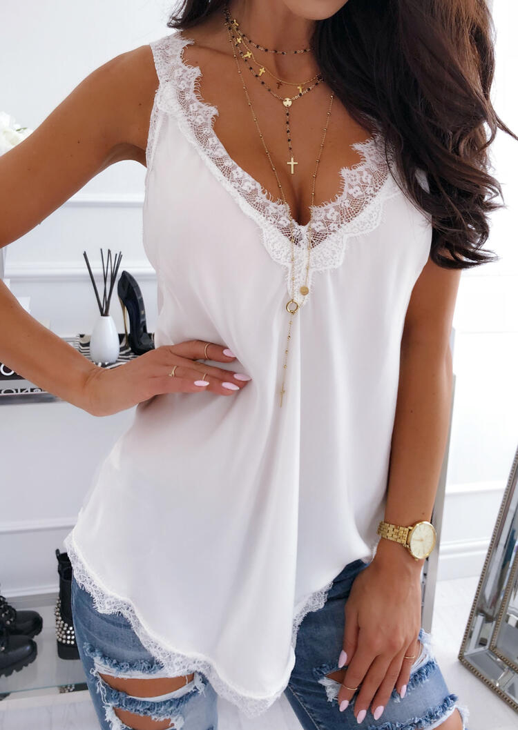 White Lace V Neck Tank Top. in White. Size: S,M,L,XL фото