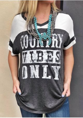Country Vibes Only V-Neck T-Shirt Tee