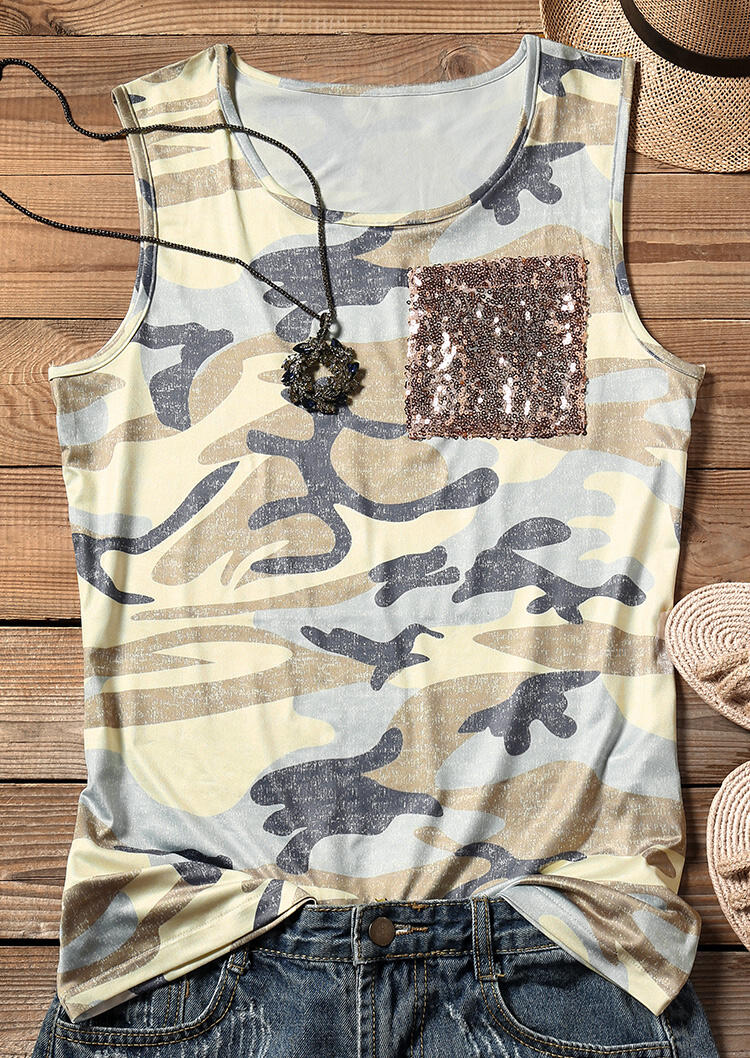 Tank Tops Sequined Pocket Camouflage Printed Tank in Camouflage. Size: S,XL фото