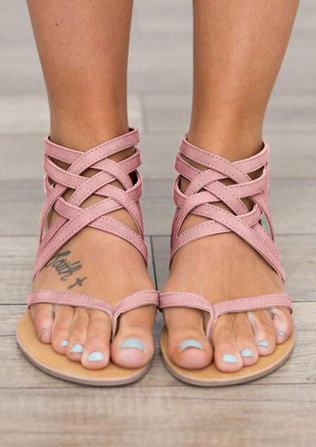 Sandals Summer Cross-Tied Zipper Flat Sandals in Pink. Size: 37,38,39,40,41,42,43