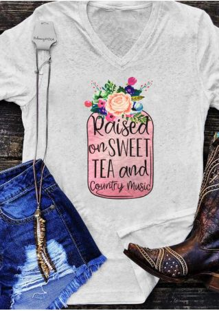 Raised On Tea And Country Music T-Shirt Tee