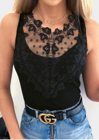 Solid Lace Floral Splicing Tank