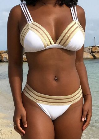 Splicing Low Waist Bikini Set
