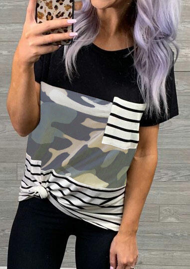 Striped Splicing Pocket T-Shirt Tee – Camouflage