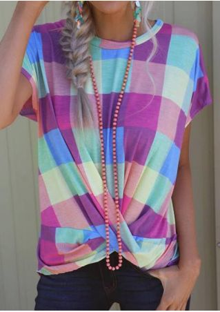 Plaid Twist O-Neck T-Shirt Tee without Necklace
